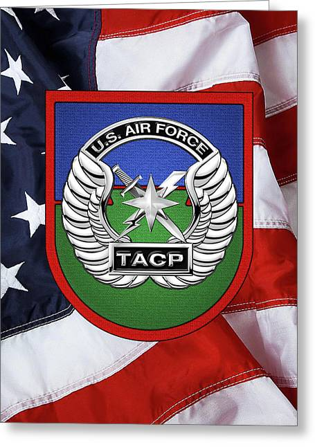 U. S.  Air Force Tactical Air Control Party -  T A C P  Beret Flash With Crest Over American Flag Greeting Card by Serge Averbukh