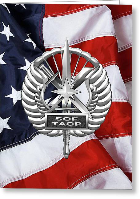 U. S.  Air Force Tactical Air Control Party - Usaf Special Tactics Tacp Badge Over American Flag Greeting Card by Serge Averbukh