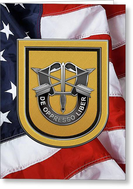 U. S.  Army 1st Special Forces Group - 1  S F G  Beret Flash Over American Flag Greeting Card by Serge Averbukh