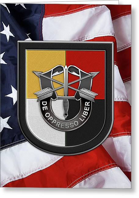 U. S.  Army 3rd Special Forces Group - 3  S F G  Beret Flash Over American Flag Greeting Card by Serge Averbukh