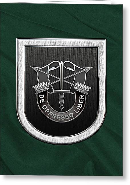 U. S.  Army 5th Special Forces Group - 5 S F G  Beret Flash Over Green Beret Felt Greeting Card