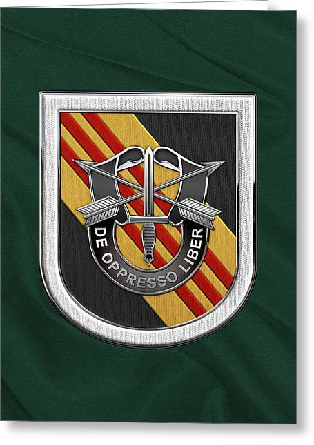 U. S.  Army 5th Special Forces Group Vietnam - 5 S F G  Beret Flash Over Green Beret Felt Greeting Card
