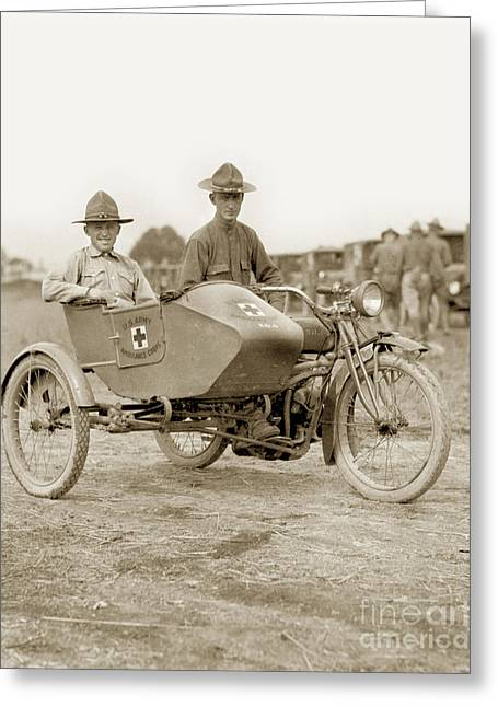 U. S. Army Motorcycle Ambulance Corps Ww I  1918 Greeting Card by California Views Mr Pat Hathaway Archives