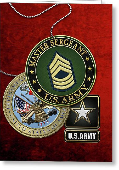 U. S. Army Master Sergeant   -  M S G  Rank Insignia With Army Seal And Logo Over Red Velvet Greeting Card by Serge Averbukh