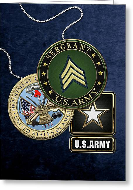 U. S. Army Sergeant  -  S G T  Rank Insignia With Army Seal And Logo Over Blue Velvet Greeting Card by Serge Averbukh