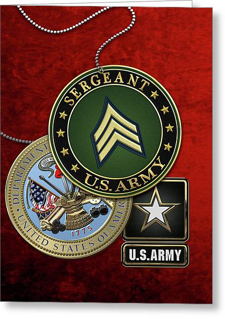 U. S. Army Sergeant  -  S G T  Rank Insignia With Army Seal And Logo Over Red Velvet Greeting Card by Serge Averbukh