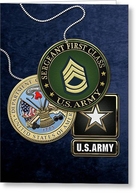 U. S. Army Sergeant First Class   -  S F C  Rank Insignia With Army Seal And Logo Over Blue Velvet Greeting Card by Serge Averbukh
