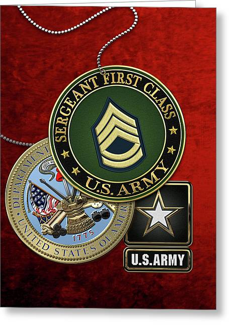 U. S. Army Sergeant First Class   -  S F C  Rank Insignia With Army Seal And Logo Over Red Velvet Greeting Card by Serge Averbukh