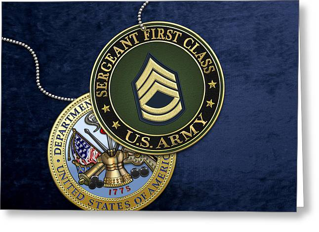 U. S. Army Sergeant First Class Rank Insignia And Army Seal Over Blue Velvet Greeting Card by Serge Averbukh