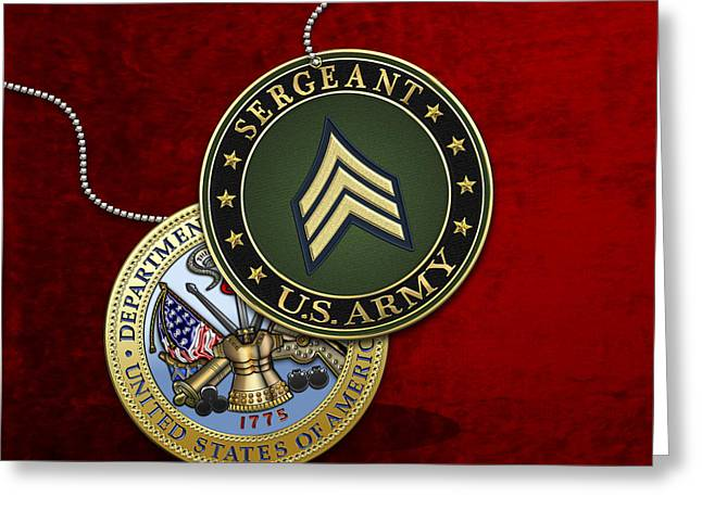 U. S. Army Sergeant - S G T Rank Insignia And Army Seal Over Red Velvet Greeting Card by Serge Averbukh
