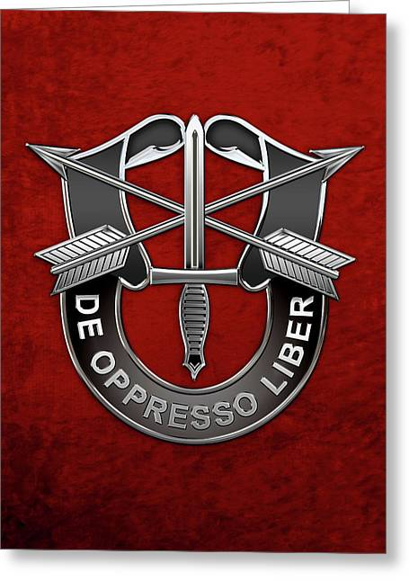 U. S.  Army Special Forces  -  Green Berets D U I Over Red Velvet Greeting Card