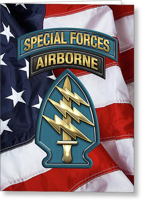 U. S.  Army Special Forces  -  Green Berets S S I Over American Flag Greeting Card by Serge Averbukh
