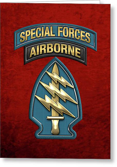 U. S.  Army Special Forces  -  Green Berets S S I Over Red Velvet Greeting Card by Serge Averbukh
