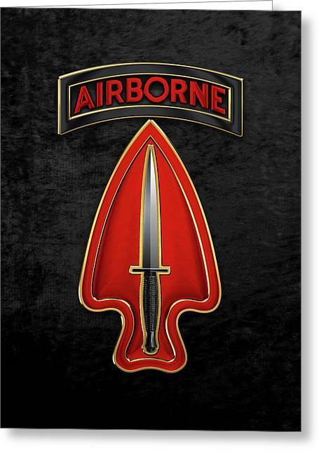 U. S.  Army Special Operations Command  -  U S A S O C    C S I B Over Black Velvet Greeting Card by Serge Averbukh