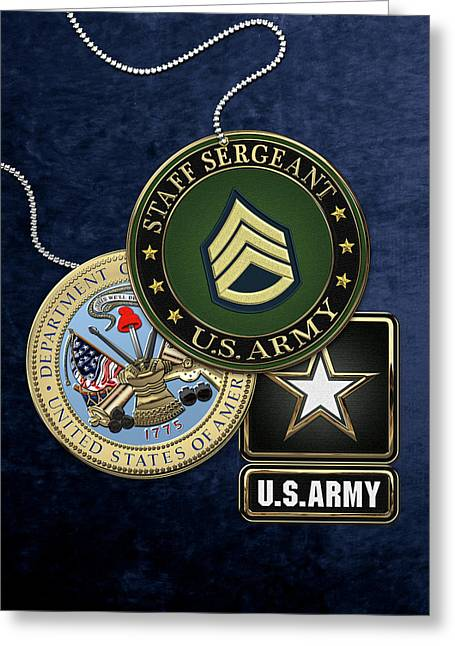 U. S. Army Staff Sergeant   -  S S G  Rank Insignia With Army Seal And Logo Over Blue Velvet Greeting Card by Serge Averbukh