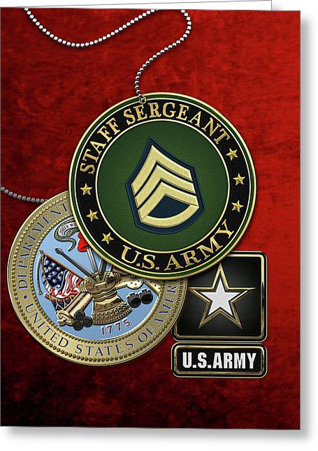 U. S. Army Staff Sergeant   -  S S G  Rank Insignia With Army Seal And Logo Over Red Velvet Greeting Card by Serge Averbukh