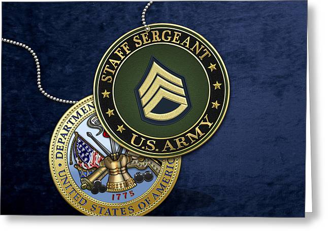 U. S. Army Staff Sergeant Rank Insignia And Army Seal Over Blue Velvet Greeting Card by Serge Averbukh