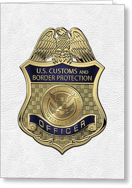 U. S.  Customs And Border Protection -  C B P  Officer Badge Over White Leather Greeting Card