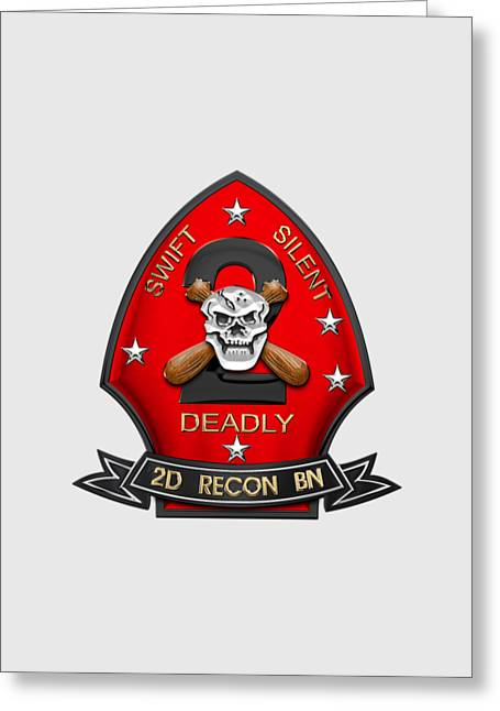 U S M C  2nd Reconnaissance Battalion -  2nd Recon Bn Insignia Over White Leather Greeting Card