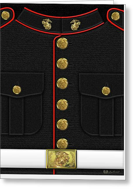 U S M C Dress Uniform Greeting Card by Serge Averbukh