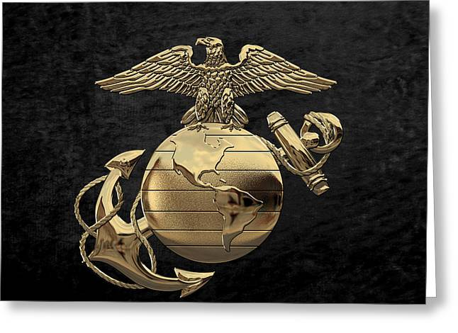 U S M C Eagle Globe And Anchor - N C O And Enlisted E G A Over Black Velvet Greeting Card