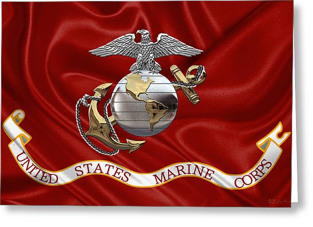 U. S.  Marine Corps - C O And Warrant Officer Eagle Globe And Anchor Over Corps Flag Greeting Card
