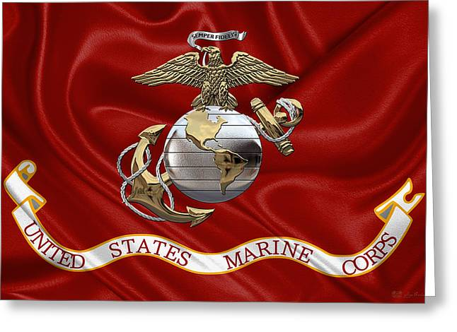 U. S.  Marine Corps - U S M C Eagle Globe And Anchor Over Corps Flag Greeting Card