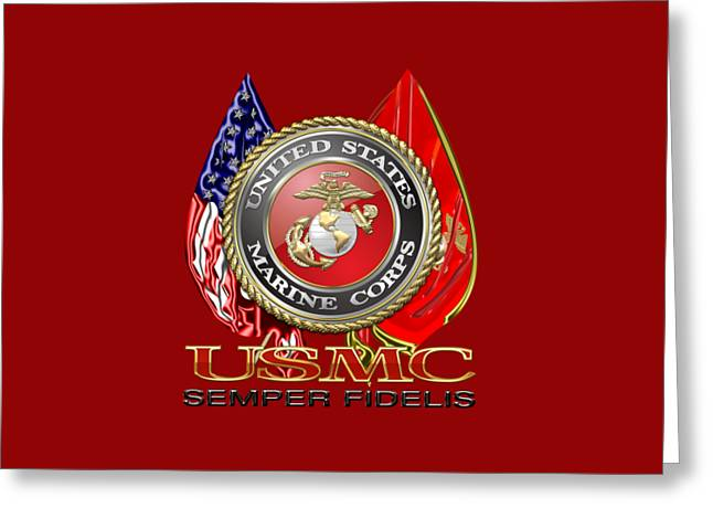 U. S. Marine Corps U S M C Emblem On Red Greeting Card