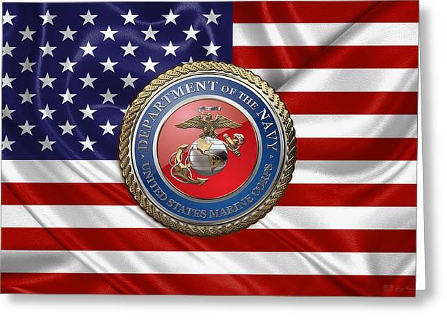 U. S.  Marine Corps - U S M C Seal Over  U. S.  Flag Greeting Card