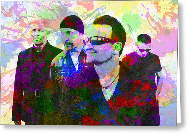 U2 Band Portrait Paint Splatters Pop Art Greeting Card by Design Turnpike