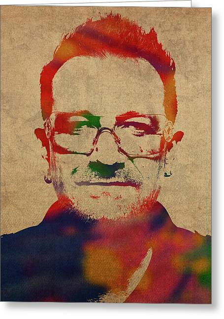 U2 Bono Watercolor Portrait Greeting Card