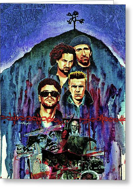 U2 Paintings Greeting Cards - U2 Greeting Card by Ken Meyer jr