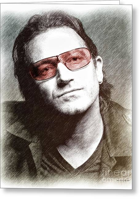 U2's Bono Greeting Card by Elaine Manley