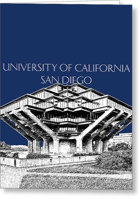 Uc San Diego Navy Blue Greeting Card by DB Artist