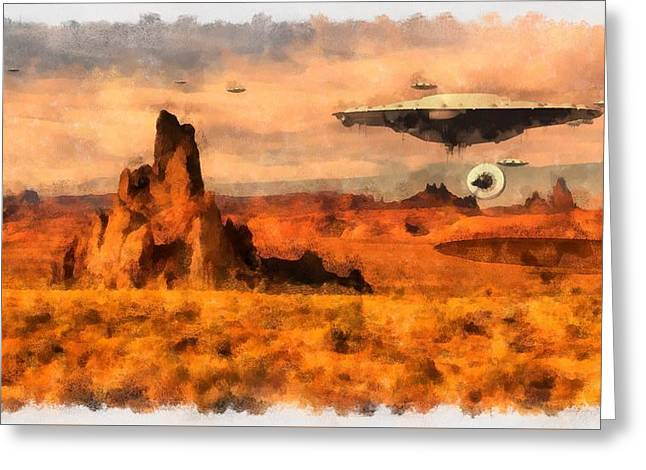 Ufo Armada Greeting Card by Esoterica Art Agency