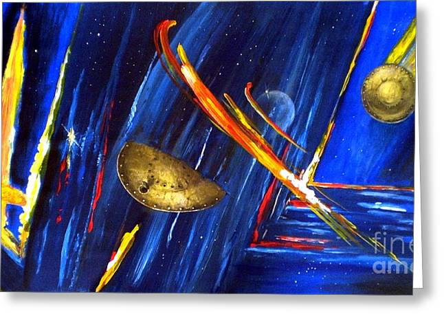 Greeting Card featuring the painting UFO by Arturas Slapsys