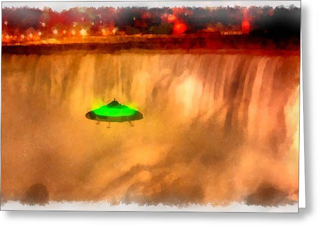 Ufo At Niagra Greeting Card by Esoterica Art Agency