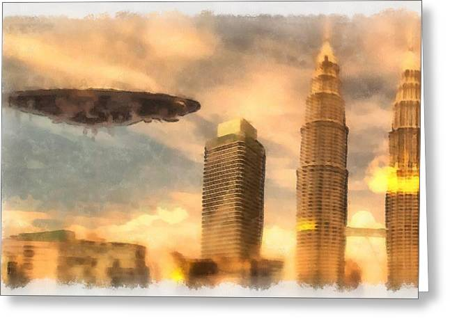 Ufo Attack Greeting Card