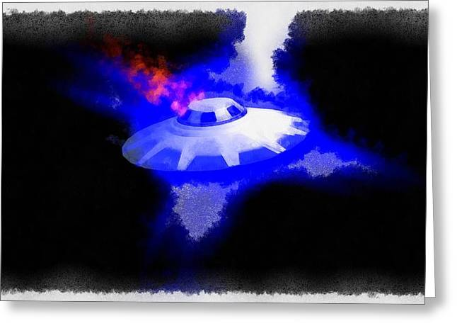 Ufo Blue In Flames Greeting Card by Esoterica Art Agency