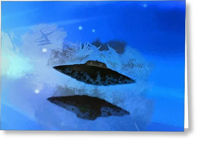 Ufo Blue Greeting Card