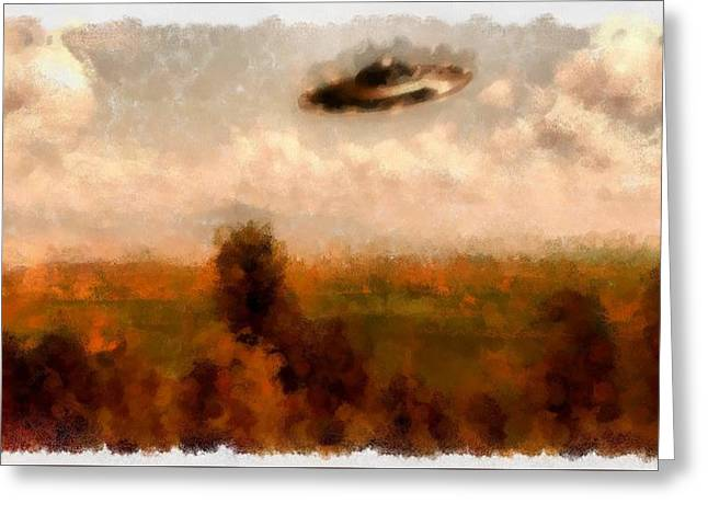 Ufo Countryside Greeting Card