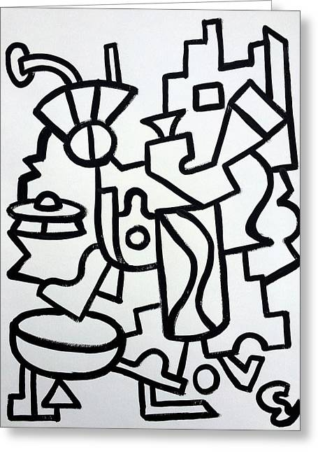 Ufo Creative Intelligence By Robert R Print Original Abstract Painting Modern Art Greeting Card by Robert R Splashy Art Abstract Paintings