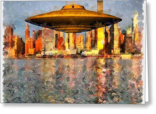 Ufo Down River Greeting Card by Esoterica Art Agency