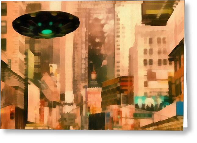 Ufo In City Greeting Card