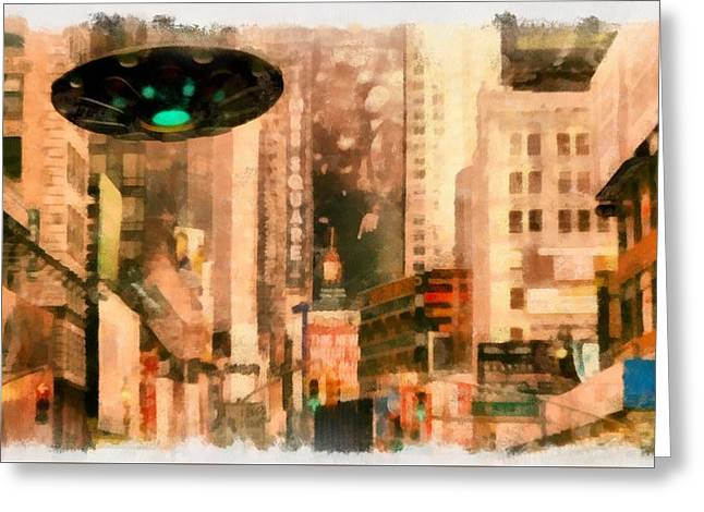 Ufo In The City Greeting Card by Esoterica Art Agency