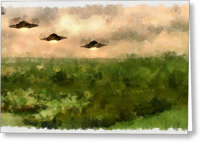 Ufo Invasion Over Landscape Greeting Card by Esoterica Art Agency