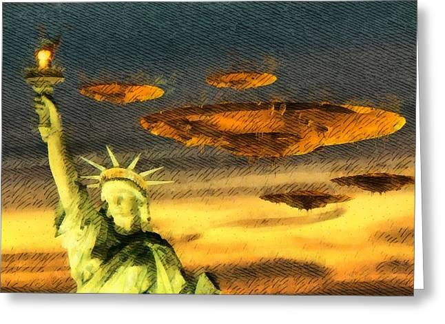 Ufo Liberty Greeting Card