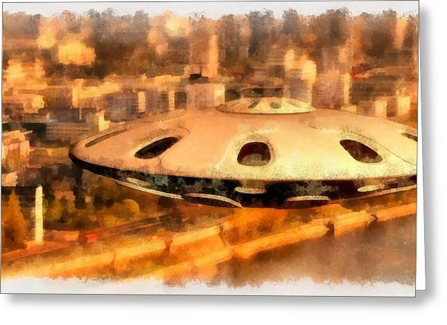 Ufo Over City Greeting Card