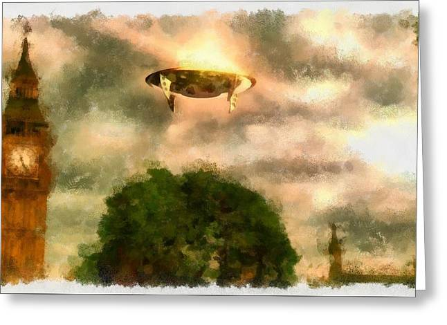 Ufo Over London Greeting Card by Esoterica Art Agency