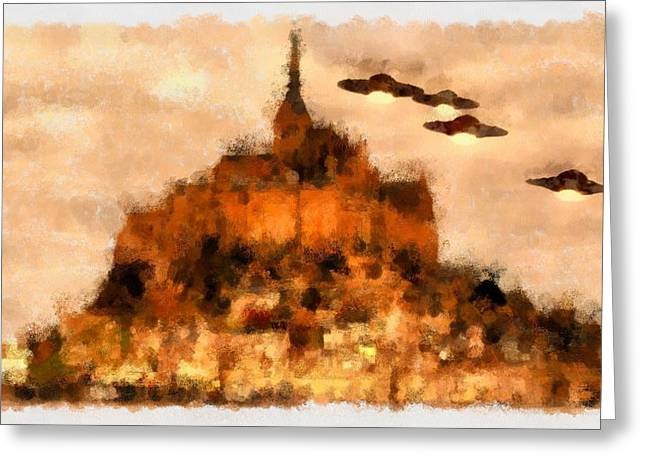 Ufo Over Mont St Michel Greeting Card by Esoterica Art Agency